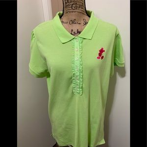 Disney Parks Polo Shirt Green Embroidered Mickey